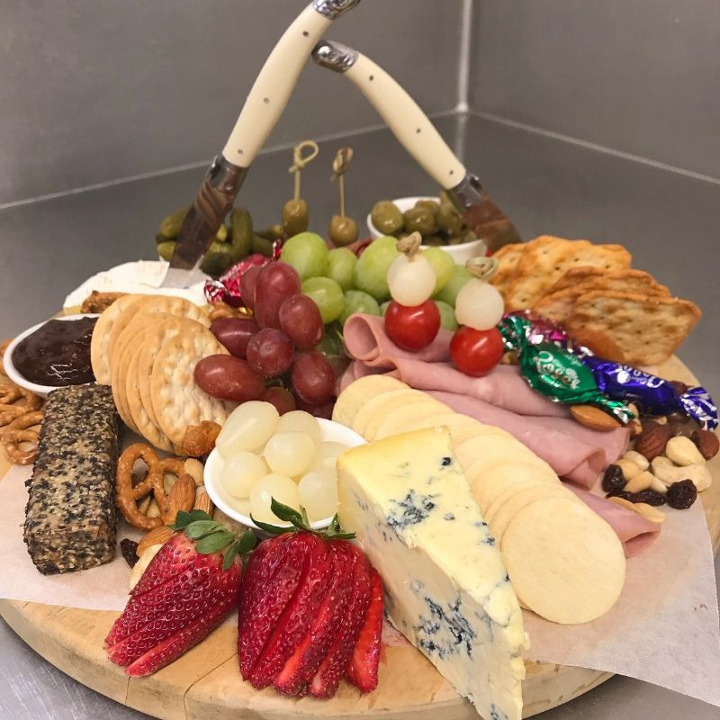 ANTIPASTA PLATTERS assorted meats, cheeses, crackers, nuts, sweet treats, dried fruits, fresh fruits, assorted pickles, olives and chutneys